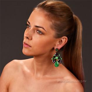 Элитная бижутерия BeAmazing.ru: Серьги Nikolas Frangos - S1331green   - фото 5